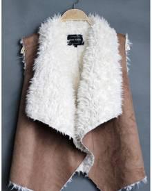 Fur Suede Irregular Sleeveless Jacket