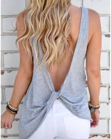 Solid Twist Backless Sexy Tank Without Necklace