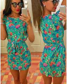 Floral Short Sleeve O-Neck Casual Mini Dress