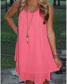 Solid Ruffled Layered Mini Dress without Necklace