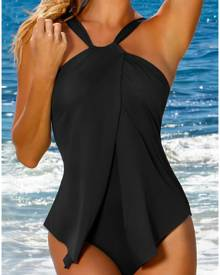 Solid Cross One-Piece Swimsuit