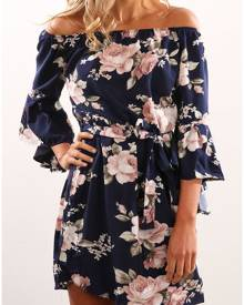 Floral Off Shoulder Flare Sleeve Mini Dress with Belt