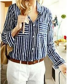 Striped Long Sleeve Pocket Shirt