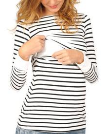 Striped Long Sleeve Maternity Lactation T-Shirt