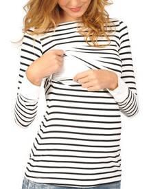 Striped Long Sleeve Maternity Lactation T-Shirt