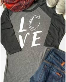 Love Football Three Quarter Sleeve Baseball T-Shirt