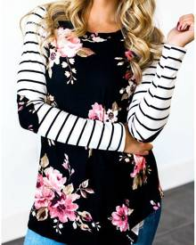 Floral Striped Elbow Patch Baseball T-Shirt