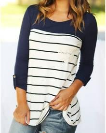 Striped Lace Splicing Pocket Tab-Sleeve T-Shirt