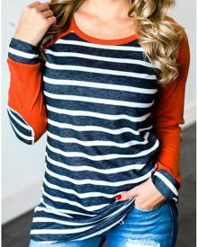 Striped Elbow Patch Baseball T-Shirt