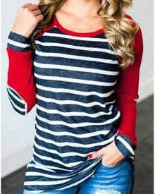 Striped Elbow Patch Baseball T-Shirt