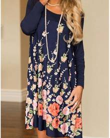 Floral O-Neck Mini Dress without Necklace