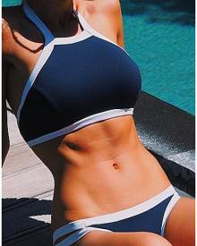 Splicing Halter Sexy Bikini Set
