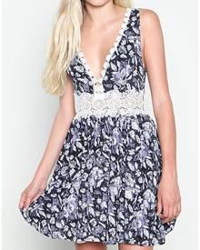 Floral Lace Splicing Deep V-Neck Sexy Mini Dress