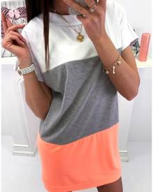 Color Block Backless Tie Mini Dress without Necklace
