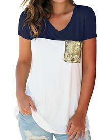 Color Block Sequined Pocket T-Shirt