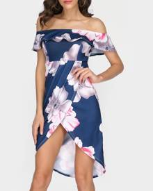 Floral Layered Slit Off Shoulder Casual Dress