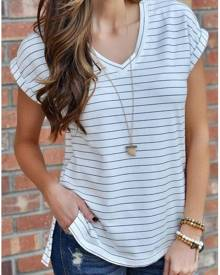 Striped Slit V-Neck Short Sleeve T-Shirt without Necklace