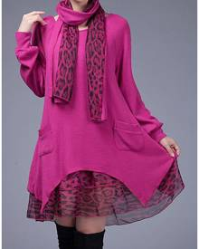 Leopard Splicing Pocket Casual Dress With Scarf