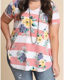 0517e5374c Plus Size Floral Striped V-Neck T-Shirt without Necklace