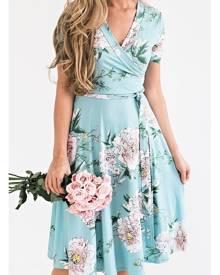 Floral V-Neck Short Sleeve Mini Dress