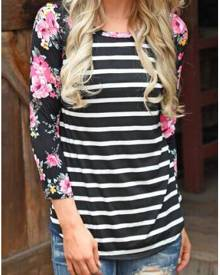 Striped Floral Splicing Casual T-Shirt