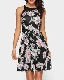 Floral Zipper Sleeveless Mini Dress