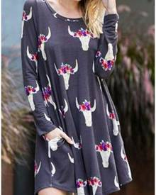 Floral Bull Pocket Mini Dress