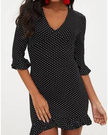 Polka Dot Ruffled V-Neck Mini Dress