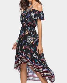 Floral Asymmetric Off Shoulder Maxi Dress