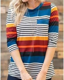 Striped Color Block Pocket T-Shirt
