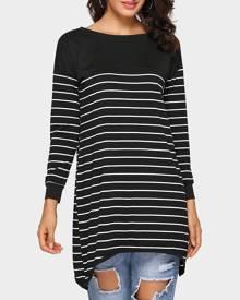 Striped Asymmetric Long Sleeve Blouse