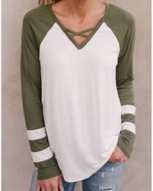 Striped Detail Criss-Cross Baseball T-Shirt