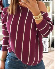 Striped One Shoulder Long Sleeve Blouse