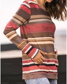 Striped Pocket Long Sleeve T-Shirt Tee