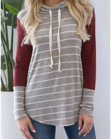 Striped Splicing Long Sleeve Hoodie