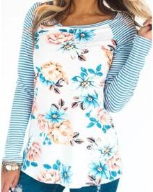 Striped Floral Baseball T-Shirt without Neckalce