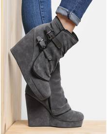 Solid Zipper Buckle Wedge Boots