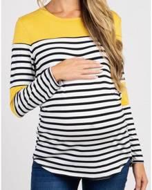 Striped Splicing Maternity T-Shirt Tee