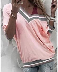 Striped V-Neck Long Sleeve T-Shirt Tee