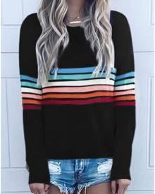 Striped O-Neck Long Sleeve T-Shirt Tee
