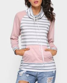 Striped Splicing Pocket Long Sleeve Sweatshirt