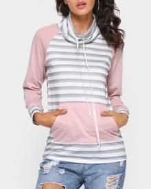 Striped Splicing Pocket Long Sleeve Sweatshirt