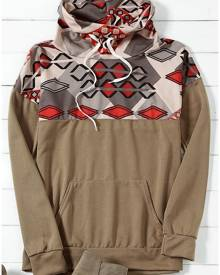 Geometric Printed Pocket Sweatshirt