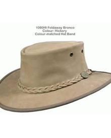 Barmah Hats BARMAH FOLDAWAY BRONCO LEATHER HAT - HICKORY [Hat Size:Large]