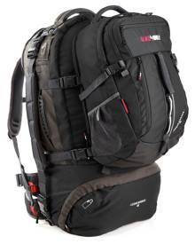 Black Wolf Cedar Breaks 65L Travel Backpack & Zip-off daypack - Black