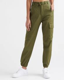 Essentials High Waist Belted Cargo Jogger