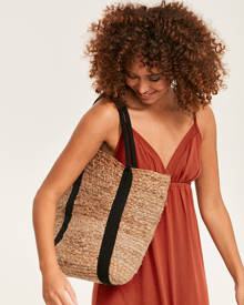 Pieces Straw Tote Bag