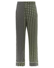 Asceno - Polka-dot Silk Pyjama Trousers - Womens - Green Multi