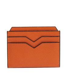 Valextra - Grained Leather Cardholder - Mens - Orange