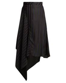 Palmer//harding - Asymmetric Striped Jacquard Midi Skirt - Womens - Navy